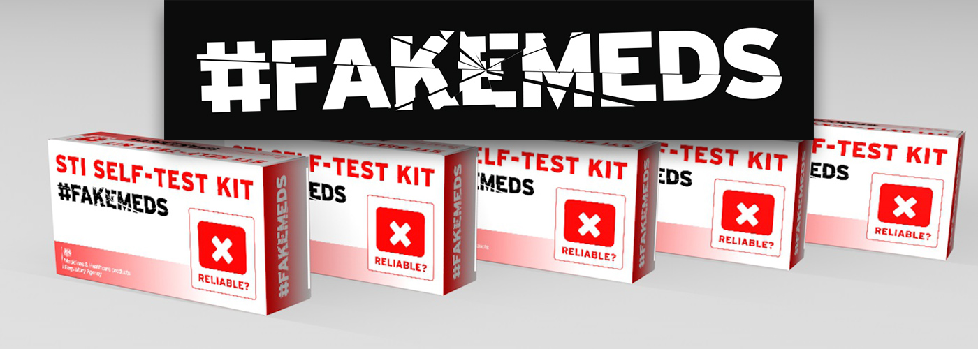 FakeMeds banner showing the campaign logo over a background of dodgy STI kits