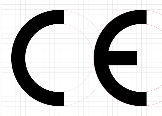 CE mark with grid showing correct arrangement of letters